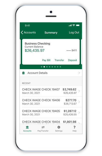 Business account on a mobile app