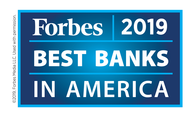 Forbes 2019 Best Bank in America graphic